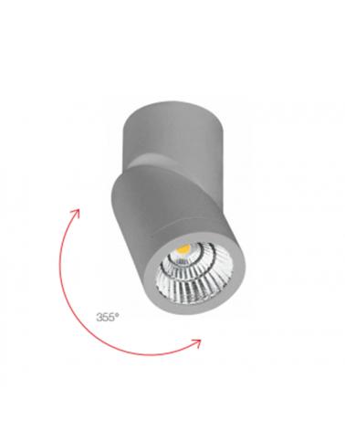 Foco cilindro de pared y techo 6cm acabado gris LED 7W Aluminio basculante 355º 4000 K. 830 Lm.