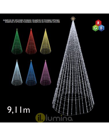 Giant Cone LED 9.11 meters with red, green and blue LEDs 230V 405W