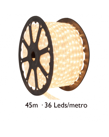 Bobina 45m hilo LED blanco, cable transparente, 1620 leds IP65 230V