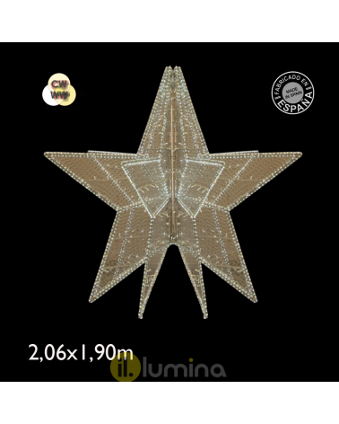 Giant star 3D LED cool white and warm white light 2.06 meters IP65 230V 276W