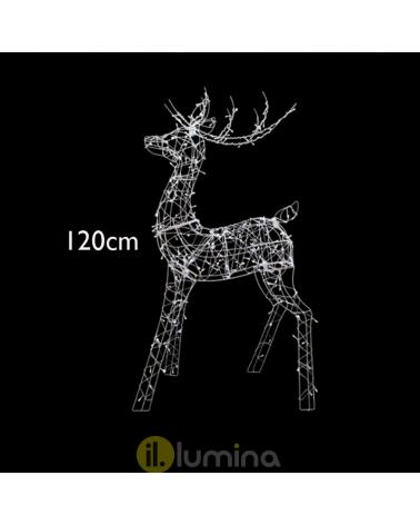 "3D LED Christmas reindeer figure ""Reno LED 3D"" with 240 leds cool white light 120 cm IP44 low voltage 31V"