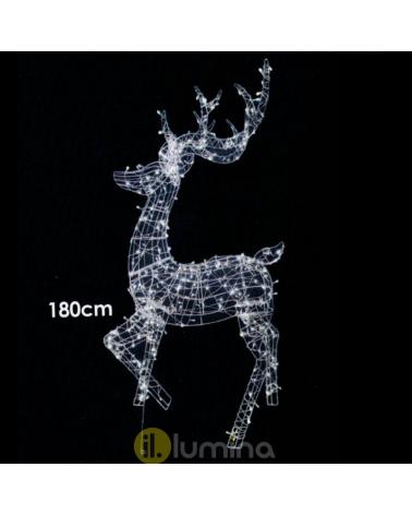 "3D LED Christmas reindeer figure ""Reno LED 3D"" with 360 leds cool white light 180 cm IP44 low voltage 31V"