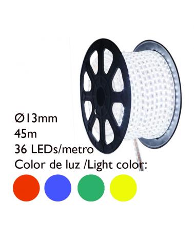 Bobina 45m hilo LED colores tubo transparente,  1620 leds IP65 230V