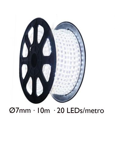 Bobina 10m hilo LED ultrafino 7mm en blanco cable transparente IP44 6V