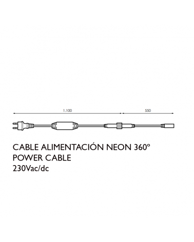 White power cable for 360º LED Neon tube