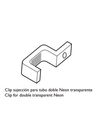Clip for double LED tube Neon transparent
