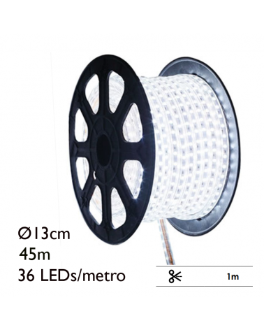 LED rope light (Flexilight) 45 meters, 36 leds x meter with 1.620 leds IP67 230V