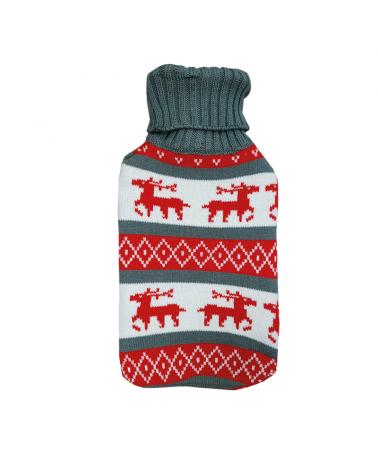 Bolsa de agua caliente lana con estampado renos 2 litros