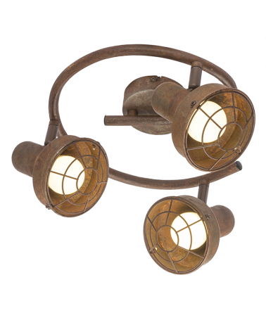 Rustic ceiling lamp 25cm with 3 adjustable spotlights in metal oxide brown 3x E14 max. 45W