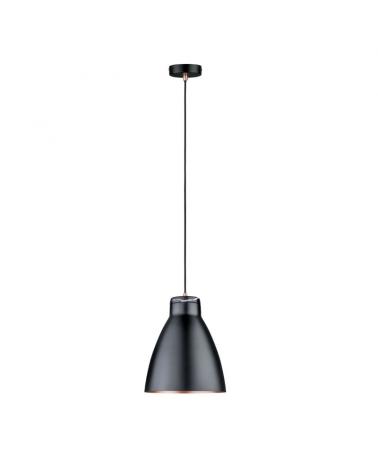 Lámpara de techo 26cm 20W E27 metal y mármol acabado negro y cobre mate