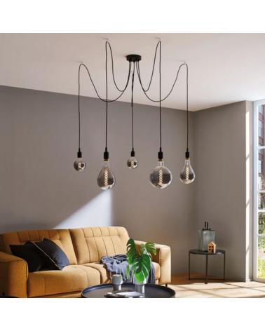 Design ceiling lamp with 5 pendel black finish E27 5x20W