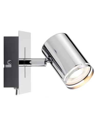 LED Spotlight GU10 10W wall lamp metal chrome rotating head with integrated On/Off switch