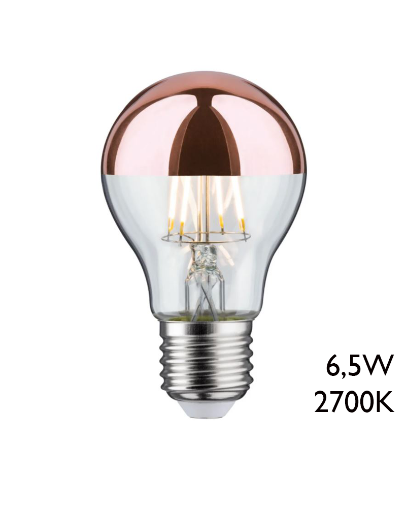 Crown mirror copper LED filaments standard Bulb 6,5W E27 60 mm. 2700K 600Lm.