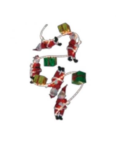 Papá Noel 25cm con regalos con flexilight 3m IP44 apto para exterior