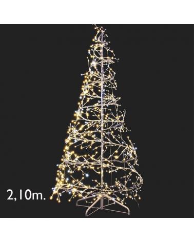 Árbol espiral LED luz blanca cálida 210cms flashing 25W 24V IP44