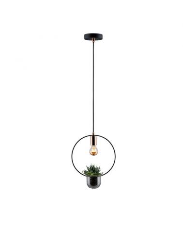 Lámpara de techo para planta interior de metal negro y cobre 20W E27