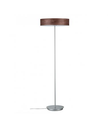 Design floor lamp 142cm wood and chrome metal base E27 3x20W