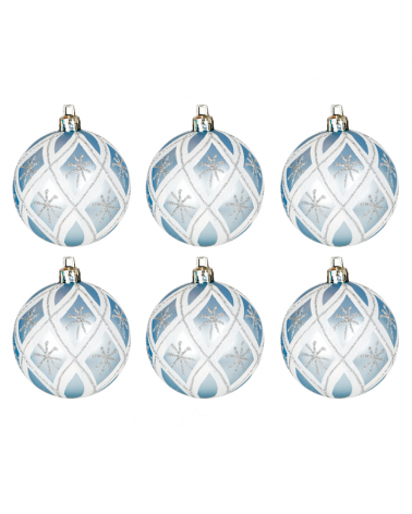 Blister 6 Bolas de Navidad decoradas color plateado ø6cm