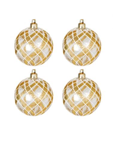 Blister 4 Bolas de Navidad transparente color dorado ø7cm