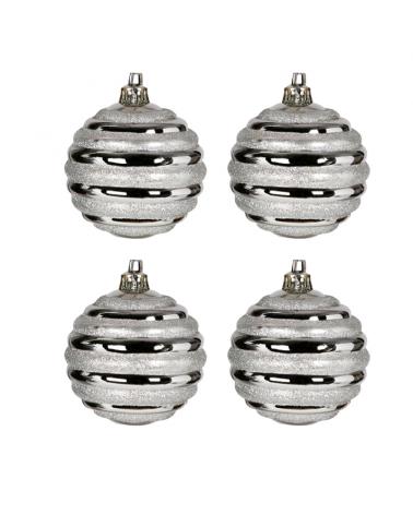 Blister 4 Bolas de Navidad decoradas color plateado ø7cm
