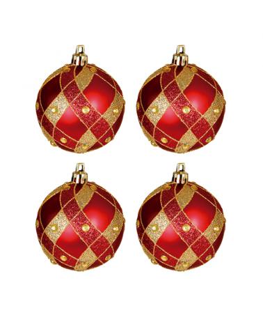 Blister 4 Bolas de Navidad decoradas color rojo ø7cm