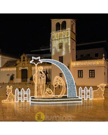 Nacimiento Navidad 3D LED con 5 figuras, cometa, vallas y portal IP44 apto para exteriores 24V