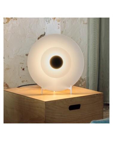 Lámpara de mesa de diseño cristal blanco doble concéntrico centro negro LED 9,6 W  2700K 893Lm