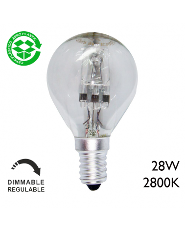 ECO Halogen Golf ball bulb E14 clear glass, dimmable, low consumption