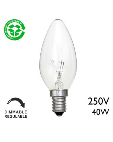 Incandescent candle bulb E14 250V 40W clear