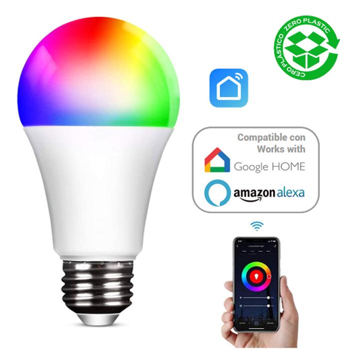 Bombilla inteligente multicolor compatible Alexa LED Estándar 10W