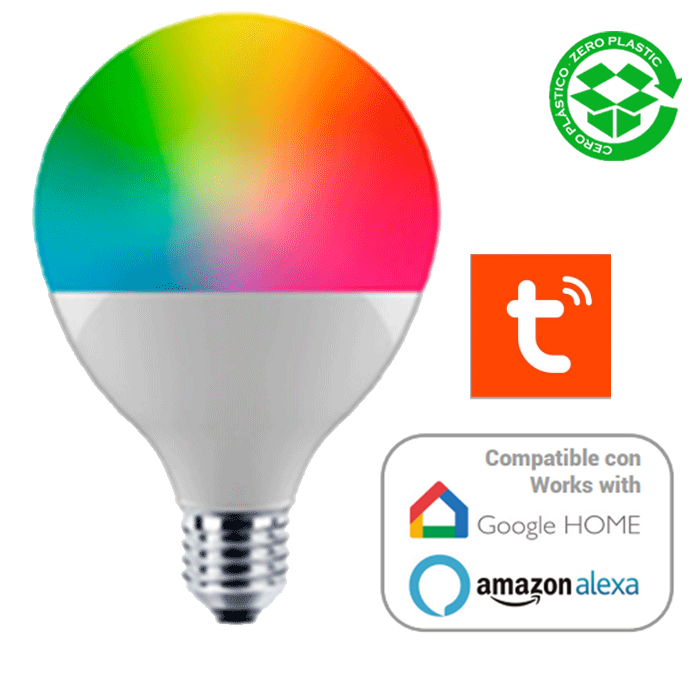 Bombilla inteligente globo 95 mm. LED E27 SMART Wifi RGBW Regulable 13W